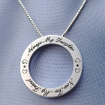 This pendant is the perfect gift from mom to her daughter. It is pre-engraved with the message: Always My Daughter Now Too My Friend. Chain Information: 	 2.10mm Snake Necklace 16 inch This well made sterling silver snake neck chain is 2.1 mm in thickness. neck chain is 2.18mm. Fits in bail opening 3.03mm and larger. Length: 16 in.