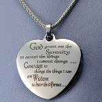 "Give the gift of serenity. Our Serenity Prayer Heart necklaces is pre-engraved with this special message and includes a silver rope necklace (18"")"