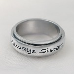 Sisters are very important and not to be taken for granted! This Always Sisters Forever Friends ring is the perfect gift to let her know how special she truly is! The top layer spins making this a very unique ring. Pre-engraved and filled in Black.