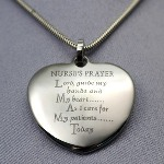 This Nurses Prayer pendant has a high polished finish and is pre-engraved in black with the Nurses Prayer. Opposite side can be engraved with a personal message. Bail opening is 3mm wide. Plain blocked black laser.  Chain Information: Sterling Silver The chain is sterling silver Length: 16, 18 in. or 20""