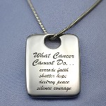 This What Cancer Cannot Do Pendant is pre-engraved in black on both sides. It has a high polished finish. Opening is 7mm wide for chain. This 925 sterling silver snake chain comes with lobster clasp. neck chain is 1.04mm. Fits in bail opening 2.65mm and larger.