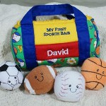 Your little guy will love carrying around his own assortment of fun sport balls to Grandmas house or just around the house. He will know which one is his with his name handsomely embroidered into the sports bag. Our Personalized My First Sports Bag is an ideal gift for a baby boys first birthday, Christening or Christmas.
