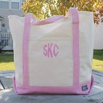 Personalized Initials Pink Tote Bag - Embroidered Canvas Tote Bag Days relaxing at the beach, going to the gym or traveling to the store will be even more enjoyable when you take along this trendy Personalized Canvas Tote. A great tote bag for handling the everyday trips around town while looking great. Its natural canvas feel and sturdy pink straps makes this Embroidered Tote Bag ready for some real power shopping. Great for college students, teachers, moms, grandparents