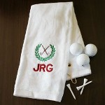 Embroidered White Golf Towel with Initials - Personalized Golf Towels Every round of golf is certain to be under par when you place your own Embroidered White Golf Towel on to your favorite golf bag. A great personalized golf gift for any avid golfer including Dad, Grandpa, Uncle or Best Friend. Why not give all of your groomsmen their own Personalized Golf Towels to remember your wedding day.