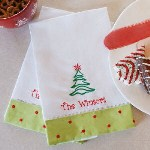 "Decorate your Christmas table or Holiday party with your own Embroidered Christmas Tree Guest Towels. A festive accent decoration suitable for a fab housewarming gift which neighbors, friends and family will enjoy and display this Holiday season. Your Personalized Christmas Towels measure 13 1/2"" x 22"" and are made of 100% cotton. Two personalized towels are provided with each order. Includes FREE Embroidery. Personalize your Christmas Tree Guest Towels with any one line custom message, limit 20 character/spaces. ( ie. The Winsors )"