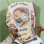"Enjoy some cuddle time with your new baby boy or girl and keep the two of you warm and toasty with your Embroidered Baby Blanket. This beautifully embroidered baby tapestry looks lovely over a rocking chair or hanging in the nursery or even at Grandmas house. Our Personalized Rock A Bye Baby Tapestry Throw makes a stunning baby shower gift as well. Your Personalized Baby Tapestry Throw measures 40"" x 50"" and is made of 100% cotton. Machine washable in cold and tumble dry on low. Includes FREE Embroidery. Embroider your Rock A Bye Baby Blanket Throw with any name. ( ie. Emma )"