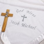 Wrap your precious little angel in this ultra soft Embroidered Christening Baby Blanket. Use this special blanket for your baptism or christening event. This soft, substantial and classic baby blanket is certain to keep your baby boy or girl comfortable during and after the service. Your Embroidered Baby Blanket also makes for a beautiful nursery room decoration and Christening Keepsake.