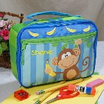 "The Lunch Box is made if durable vinyl and is fully insulated so everything stays just the right temperature. Theres also a Velcro strap on the inside to keep your drink from moving around and an inner mesh pocket for special treats. This Personalized Lunch Box measures approximately 10""x7.5""x3"". Includes Free Personalization! Personalize your lunch box with any name."