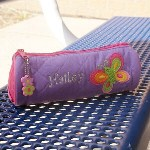 Send your daughter off to school with her very own Quilted Butterfly Pencil Pouch. Perfect for keeping pens and pencils all in one place and easily fits into any desk or backpack. Add personalization to this cute pencil case to make her day extra special.