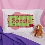 Colorful red roses & soft pastel colors decorate your daughters or nieces personalized pillow case. She will rest soundly on this soft & comfortable Personalized Pillowcase.