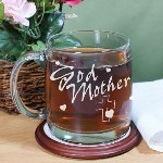 Give your new Godmother a unique keepsake she can enjoy every day when you give this Engraved Godmother Glass Mug. She is honored you asked her to take on such a great responsibility to help raise and guide your child through life with god and will always be reminded of her blessed child sent from above. Poem reads: I count my blessings when I think of you, walking beside me to help and guide me.
