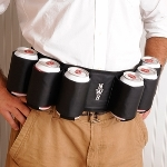 Now you can have a six-pack without working out! The Personalized Joe Sixpack Beer Belt turns the average Joe into the life of the party! Both fun and practical, he can tote six cans of his favorite brew to share (or not) with friends! Made of waterproof black fabric, the belts clasp attaches firmly in the back and features front and center personalization.