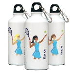 "Give your favorite gal a pat on the back with this personalized aluminum water bottle from our modern ""Go-Girl"" collection. Each personalized water bottle includes a trendy ""Go-Girl"" icon. Ideal for the active woman in your life, our roomy, 20 ounce, aluminum, eco-friendly bottle features a leak-proof cap and a handy clip/carabiner that keeps the bottle close at hand for those thirsty moments."