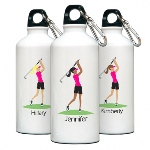 "Give your favorite gal a pat on the back with this personalized aluminum water bottle from our modern ""Go-Girl"" collection. Each personalized water bottle includes a trendy ""Go-Girl"" icon. Ideal for the active woman in your life, our roomy, 20 ounce, aluminum, eco-friendly bottle features a leak-proof cap and a handy clip/carabiner that keeps the bottle close at hand for those thirsty moments. Choose hair color (brunette, blonde, or black) and activity. Personalize with one line of up to 10 characters."