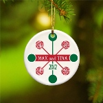 "Put a modern spin on Christmas with our up-to-date Contemporary Classics selections, which include both bright colors and pastels in a variety of attractive patterns. Ornaments measure 3"" in diameter and are ready for hanging with a gold metallic cord. Personalize with one line up to 15 characters and holiday year."