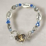 Personalized Military Awareness Heart Bracelet - Engraved Military Support Bracelet Support your family member serving in the United States Military with this attractive and inspiring Personalized Military Awareness Bracelet. A lovely gift to wear especially when your loved one is on deployment. Your Military Support Bracelet is also a thoughtful way to remember a loved one who has served in the military.