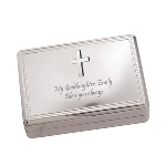 "Confirmation or First Communion gifts are hard to find but this velvet lined silver plated 5-3/8"" x 3-7/8"" x 1-3/4"" jewelry box will make a great impression. A silver cross adorns its lid to mark the religious occasion. You can personalize it with your own message making this a gift that can also be used for a baptism, christening, or any religious occasion."
