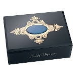"These sophisticated black glass jewelry boxes with hand-painted accents are sure to please every woman on your gift list! This elegant black glass jewelry box measures a full 7 ¾""x 5 1/2"" x 3 3/4"", and features a delicate blue and gold hand-painted design on top of the box. These stylish gifts for her get an extra special detail when customized with her name sandblasted into the box front. These ideal personalized gifts for her are a great way to say thank you, impress on a birthday or for any occasion that calls for a chic and practical gift!"