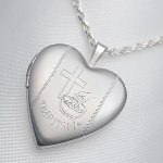 Sterling Silver Heart Locket Baptism is 3/4 inch and can be engraved on back with a special message. Front half shiny - half matte. Chain not included. Please see our neck chain page for a wide variety of lengths and styles. Bale opening is 2.5 mm wide. Matte finish on back.