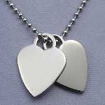 "Celebrate a special retirement with our Years of Service Retirement Necklace. This double heart 316L stainless pendant comes with a 20 inch stainless bead chain. Engrave both hearts with a message. Pendant is made of 316L Surgical Stainless Steel. Most stainless jewelry on the internet is 304 Stainless. Although both are hypoallergenic 316L is non-corrosive. It is also known as ""marine grade"" stainless steel due to its increased resistance to chloride corrosion compared to type 304. Chain is 304 stainless. Great for corporate retirements, teacher retirement gifts, nurse retirement gifts..."