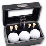 Recognize the distinguished golfers on your business or personal gift list with our sophisticated black leather golf gift set. Distinctive presentation case is made of genuine rich black leather of the highest quality. Golf gift includes 3 golf balls, 4 tees and a divot tool, all in one handsome set. Create a dramatic impression in an engraved golf gift when you add personalization to the nameplate on front of case, the divot tool or both. Case top of golf set displays gift items prominently. Your recipient will always remember you fondly for your thoughtfulness as well as your tastes in superior quality.