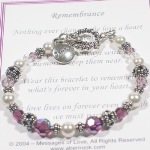 Help a loved one through a difficult time. The Messages of Love Jewelry (TM) Remembrance Bracelet comes with a special poem and comfort charm. Keep loves ones close at heart each time you look at the bracelet.
