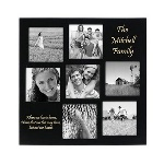 "This stylish modern black frame offers a photo gallery for seven 4"" x 7"" pictures that can make a memorable gift for a special birthday or other celebration. With two areas on the attractive frame where you can personalize it, this gift will be ideal for any occasion. Frame measures 13"" x 13"" x 3/4""."