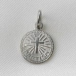 This sterling Baptism charm can be engraved on back to make it even more special. Block Font. Bail opening is 3.45mm. Necklace Information: This 925 sterling silver box chain necklace works well with any of our pendants. Necklace is 1.58mm. Fits in bail opening 2.87mm and larger. Length: 16 in.