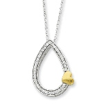 """Perhaps they are not the stars, but rather openings in Heaven where the love of our lost ones pours through and shines down upon us to let us know they are happy."" -Unknown Sterling Silver & Gold-plated A Tear of Love 18in Necklace"