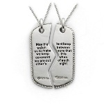 Sterling Silver Antiqued Military Dog Tag For Two 18in Necklaces is a meaningful and keepsake necklace to share. A sentimental expression that will keep you close at heart.