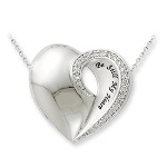 "Jewelry with a message...let our designs help express just how you feel. Be Still My Heart necklace shares your joy, happiness and love for a special anniversary or gift occasion. Sterling Silver, cz stones and 18"" in length. Give a gift of love and meaning."