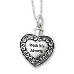"""Each remembrance ash holder comes with a twist-on top, funnel and black pouch. Our sterling silver 18"""" necklace is a keepsake gift to hold near those you loved dear."""