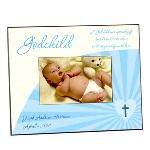 "This adorable blue godchild photo frame makes an ideal picture frame gift for your favorite godson. Each 8"" by 10"" frame holds a single 4"" by 6"" photograph, and features the phrasing ""A godchild is a special gift sent from heaven above to bless your life with love."" These custom picture frames can be personalized with the godchilds name and special date. Honor your commitment to your godson, with this personalized picture frame."