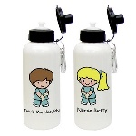 With long hours on their feet, any hard-working nurse would appreciate this custom character nurse water bottle. Each aluminum water bottle features a male or female RN decked out in scrubs, and can be customized by skin tone, hair color, eye color, and a name printed under the character. These nurse character water bottles come with a carabiner clip, a plastic spout with lid and an o-ring. Surprise a nurse or nursing student in your life, with this ecologically kind water bottle. Personalization Information: Personalize this gift with a name, skin tone color, gender and hair color.