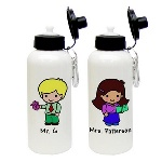 These teacher character water bottles are a great way to say thank you to a favorite teacher, and feature a male or female teacher prepared for a fun day of learning. Choose the gender, skin tone, hair color, eye color and the recipients name to be printed on the water bottle. These aluminum bottles come with a carabiner clip, an o-ring and a spout/lid and can hold up to 600 ml of water. These teacher character water bottles make a great gift, and are an ecological way to get those daily eight glasses of H2O. Personalization Information: Personalize this gift with a name, skin tone color, gender and hair color.