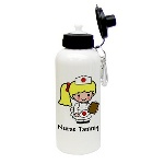 Honor her chosen profession with this adorable classic nurse character water bottle, which features a female nurse in a classic white nurses uniform, holding a patient chart. Customize this classic nurse water bottle by including the recipients name printed under the character, and by choosing the skin tone, hair color and eye color. Each 600 ml aluminum water bottle comes with a carabiner clip, an o-ring and a spout/lid, and makes a great ecologically-friendly gift any nurse will appreciate! Personalization Information: Personalize this gift with a name, skin tone color and hair color.