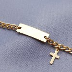 Celebrate his or her faith with this beautiful gold tone id child bracelet. Engrave front and back with a message. Block Font. Great for baptisms, confirmations or communions. Sizing: Smaller size for baptism...larger size for confirmations/communions.