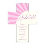 "This unique baby gift is made of hardwood and has a lovely glossy finish, sure to become a treasured family heirloom. When looking for a newborn baby gift for your new goddaughter, or for a christening or baptism, this pink godchild wall cross is an ideal choice. This pretty and pink godchild wall cross is a perfect baby gift idea, and is suitable for any religious occasion in your goddaughters life. Each 5 1/4"" by 6.875"" cross features a pink motif and room for a personal message from the gift-giver to the recipient."