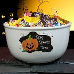 Be sure to greet all the little Ghosts and Goblins this Halloween with our Personalized Halloween Ceramic Candy Bowl. Our Halloween Candy Bowl is great for holding tons of candy while the little neighborhood kids reach in for their favorite piece. Halloween Candy Bowls also make great decorations to display throughout the Halloween Season.