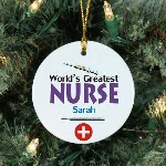 "Steal your new nurse's heart when you give this unique Personalized World's Greatest Nurse Ornament. This Personalized Nurse Ornament makes a wonderful gift idea for someone completing Nursing School or to just say thank you for the care. Our Worlds Greatest Worker Ceramic Ornament is a flat ornament and measures 2.75"" in diameter. Each Ornament includes a ribbon loop to easily hang from your Christmas tree."