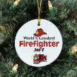 "Fighting fires and saving lives is what your world's greatest firefighter does. Give your firefighter this one-of-a-kind Personalized World's Greatest Firefighter Ornament to enjoy every Christmas. It's a great way to pay tribute to active and former fire fighters on Christmas day. Our Worlds Greatest Firefighter Ceramic Ornament is a flat ornament and measures 2.75"" in diameter. Each Ornament includes a ribbon loop to easily hang from your Christmas tree. Includes FREE Personalization! Personalized with any name."
