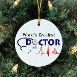 "What better way to show your appreciation to your favorite doctor or Medical Student then with this Personalized World's Greatest Doctor Ceramic Ornament. Give this Personalized Ornament as a wonderful thank you gift this holiday season or any time of year. Our Worlds Greatest Doctor Ceramic Ornament is a flat Ceramic ornament and measures 2.75"" in diameter. Each Ornament includes a ribbon loop to easily hang from your Christmas tree. Includes FREE Personalization! Personalized with any name."