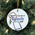 "Give your favorite Coach a great Personalized Worlds Greatest Coach Ornament to say Thank You for all the effort and time put into coaching your team. Honor your best Coach with this unique Personalized Coach Keepsake from the entire team. Our Worlds Greatest Coach Ceramic Ornament is a flat ornament and measures 2.75"" in diameter. Each Ornament includes a ribbon loop to easily hang from your Christmas tree. Includes FREE Personalization! Personalized with any name."