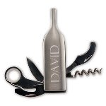 "This special bottle shaped opener has everything you need to create great drinks at the wet bar or on the go. When closed, the tool resembles an elegant bottle of wine, but hidden inside are five great gadgets including a corkscrew. Great for throwing into a picnic basket or stashing under a wet bar. This is a great gift that they will use again and again. Make it personal by added their first name, or their initials. This is a fun and practical gift that would be appreciated by anyone for any occasion. Item measures 3 7/8"" tall."