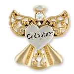 Celebrate the bond between a godchild and godmother with our godmother gift angel pin. Silver and gold toned with a crystal stone. Our gift pin makes a meaningful and keepsake way to ask someone special to be a godmother or to celebrate a special event or holiday with your godmother.