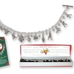Celebrate the holiday all season long with our 12 days of Christmas bracelet. Amazingly detailed silver finish crystal bracelet depicting the 12 days of Christmas. Gift boxed.