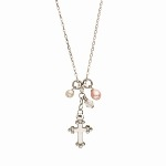 "Encourage faithfulness and love with our rhodium necklaces with charms and freshwater pearls. Necklaces - lobster claw closure 15"" with 1"" extender."