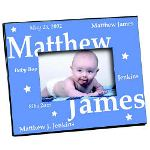 "A New Baby Boy arriving in the family is a glorious time to celebrate. Give all of your closest of friends and family this handsome Personalized New Baby Boy Picture Frame as their personal birth announcement. This Personalized Picture Frame measures 8"" x 10"" and holds a 3.5"" x 5"" or 4"" x 6"" photo. Easel back allows for desk display or ready for wall mount. The New Baby Boy Picture Frame can be personalized with the Baby Boys full name, birth date and weight. Please note the blue color may vary."