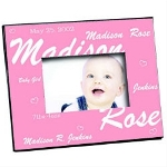 "Bright pinks and your new baby girls precious name, birth date and weight beautifully highlight her first baby picture. Our personalized new baby picture frame measures 8"" x 10"" and holds a 3.5"" x 5"" or 4"" x 6"" photo. Easel back allows for desk display or ready for wall mount. Baby Picture Frame can be personalized with your new baby girls full name, birth date and weight."