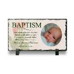 "Crafted from polished natural metamorphic with a natural edging, this exquisite Personalized Baptism Frame stands 4 3/4"" x 8 1/2"" x 3/8"", sure to fit perfectly in any nursery or home decor. Makes a keepsake gift idea to celebrate a baptism or to give to a special godparent or grandparent. Customize your Baby Baptism Photo Frame with 4 lines for a meaningful printed message, name, date, and baby photo. Our Baptism Plaque will surely be a touching keepsake that the babys family and friends will cherish for years to come. Makes a wonderful and ideal gift to give for a baptism."